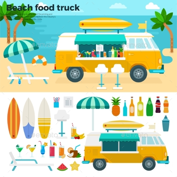 Beach Food Truck with Cold Beverages - Food Objects