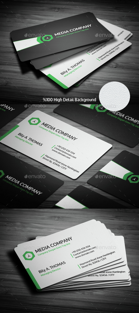 Clean Corporate Business Card - Green - Creative Business Cards