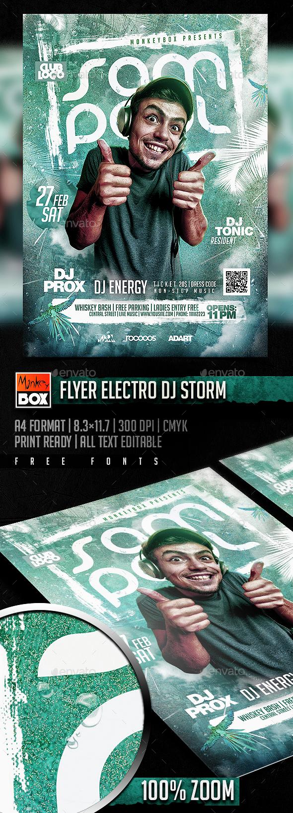 Flyer Electro Dj Storm - Flyers Print Templates