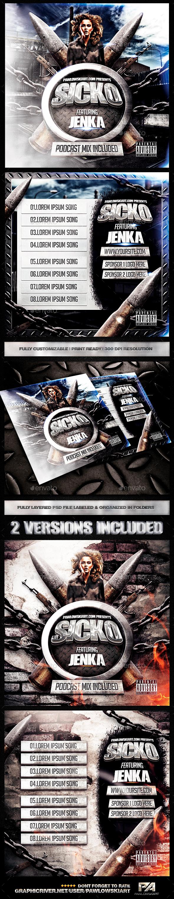 Music Mixtape Cover .PSD Template - CD & DVD Artwork Print Templates
