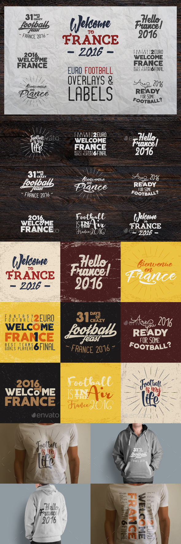 France 2016 Football Euro Badges - Badges & Stickers Web Elements
