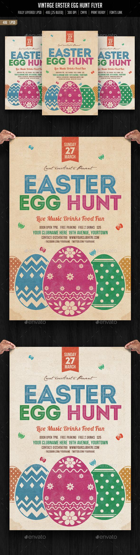 Vintage Easter Egg Hunt Flyer - Events Flyers