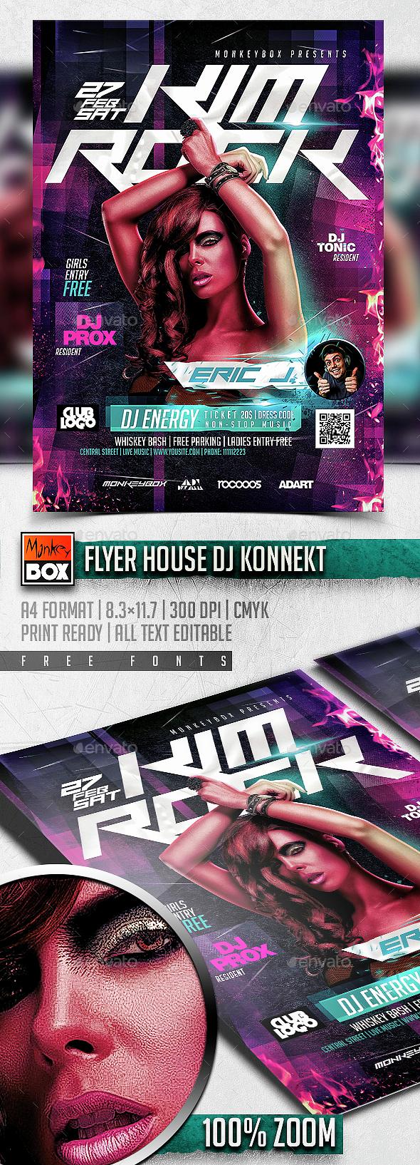 Flyer House Dj Konnekt - Flyers Print Templates