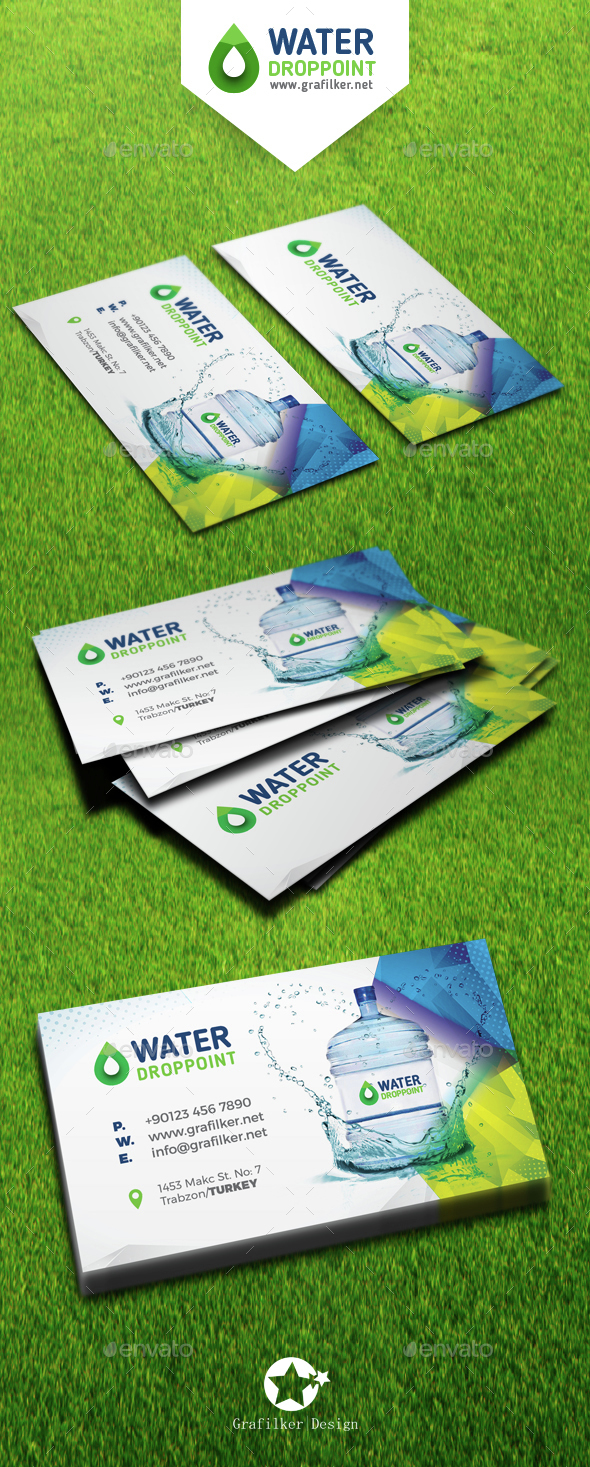 Drinking Water Service Business Card Templates by grafilker ...