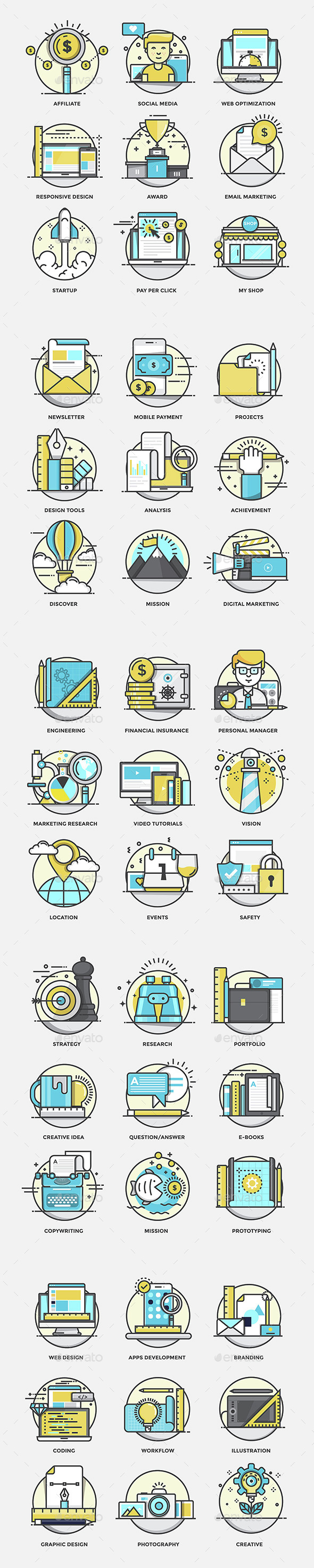 Modern Flat Color Line Designed Concepts Icons - Icons