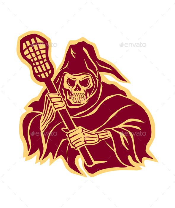 Grim Reaper Lacrosse Defense Pole Retro - Halloween Seasons/Holidays