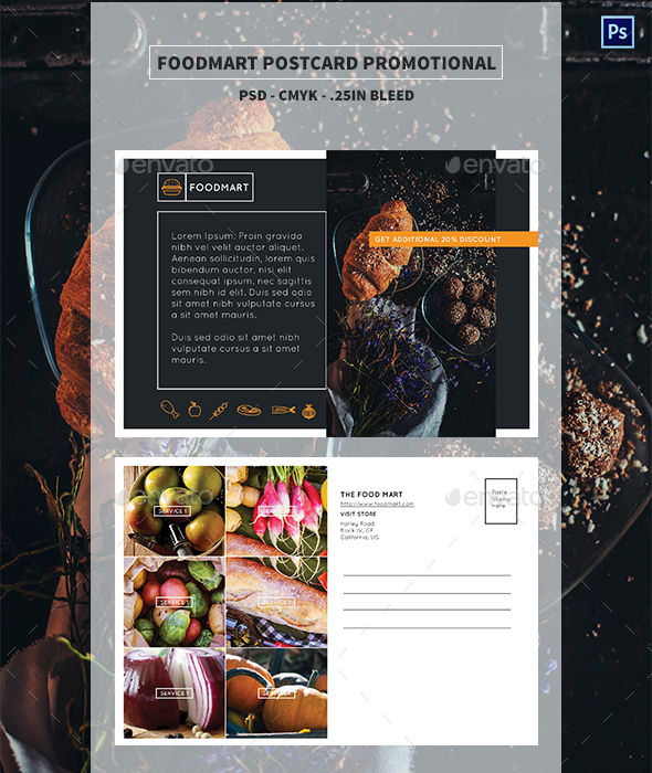 Foodmart Postcard - Promotional - Miscellaneous Print Templates
