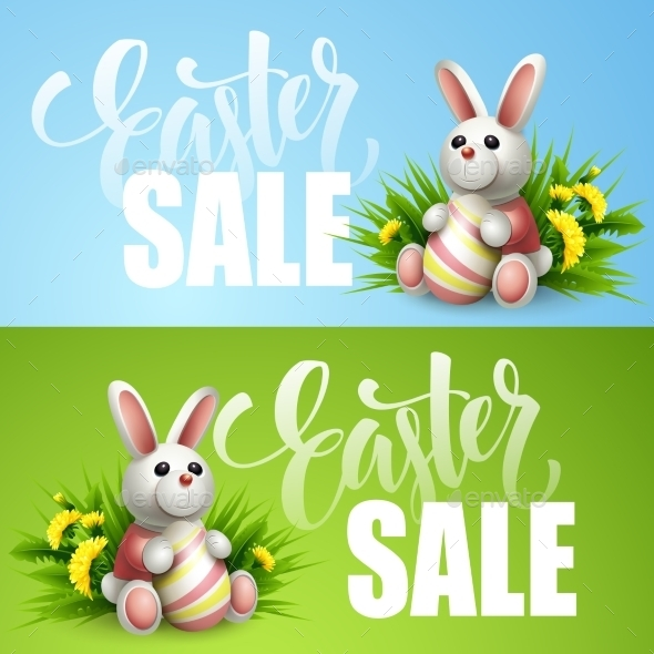 Easter Sale Background With Eggs And Spring Flower - Seasons/Holidays Conceptual