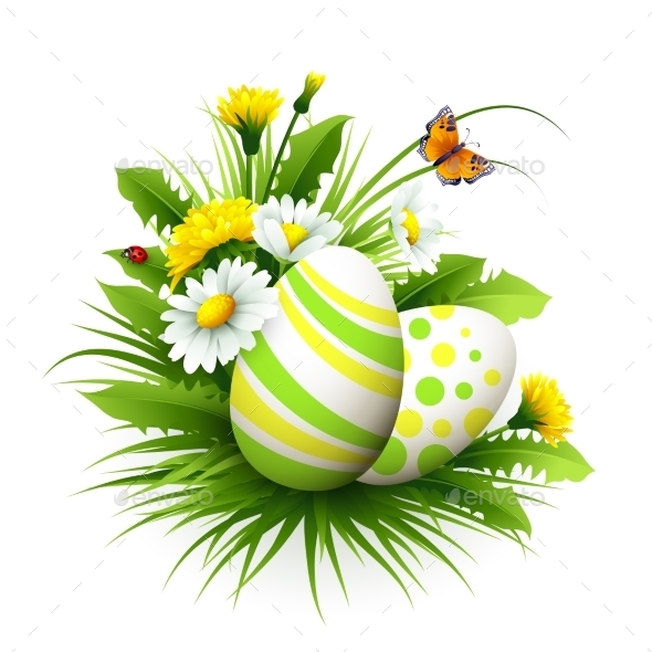Easter Card With Eggs And Flowers. Vector - Seasons/Holidays Conceptual