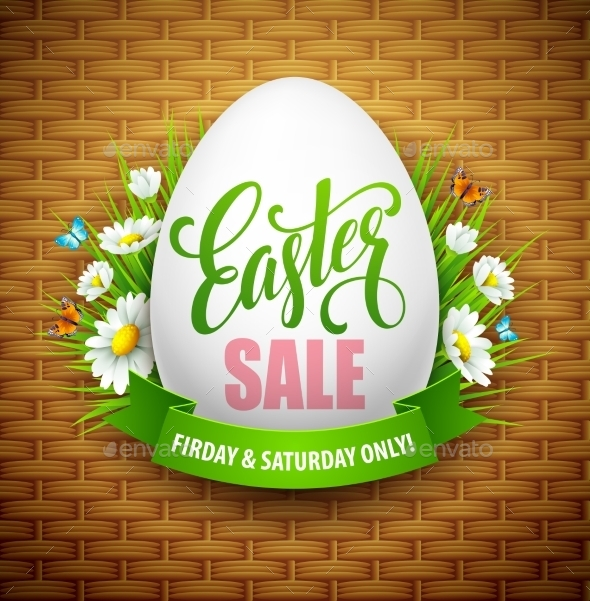 Easter Sale Background with Eggs and Spring Flower - Seasons Nature