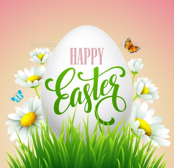 Easter Greeting Lettering Eggs and Flowers - Flowers & Plants Nature