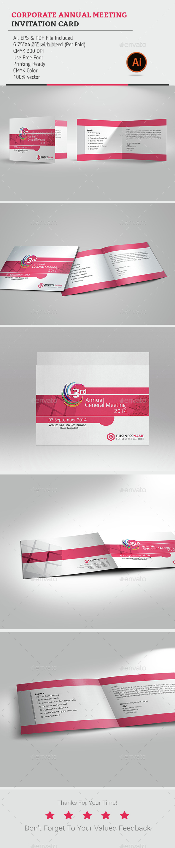 Corporate annual meeting invitation card by ideazsabbir graphicriver corporate annual meeting invitation card cards invites print templates stopboris Image collections