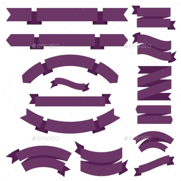 Big Purple Ribbons Set - Decorative Symbols Decorative