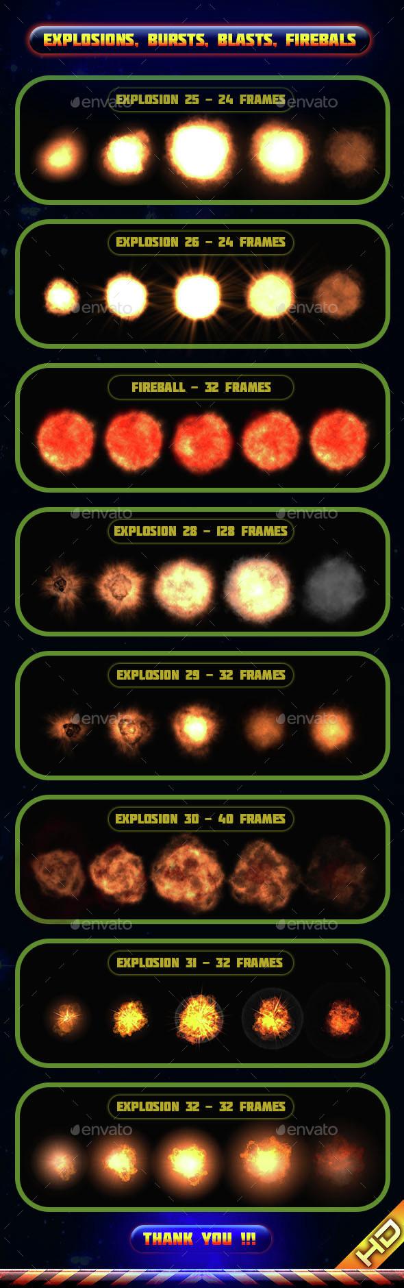 Explosions Blasts Bursts Detonations Fireballs 04 - Sprites Game Assets