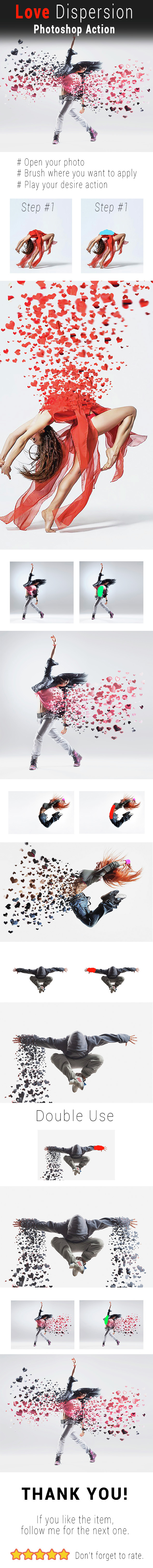 Valentine Love Dispersion Photoshop Action - Photo Effects Actions