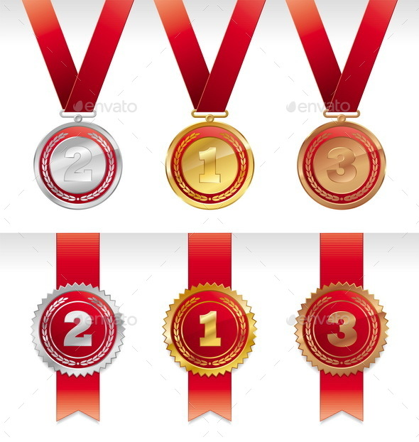 Three Medals with Ribbon - Sports/Activity Conceptual