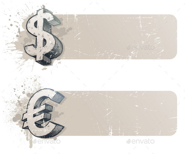 Banners with Hand Drawn Currency Sign - Backgrounds Business