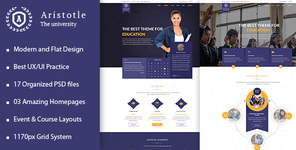 Aristotle - Professional PSD Template for Education - Corporate PSD Templates
