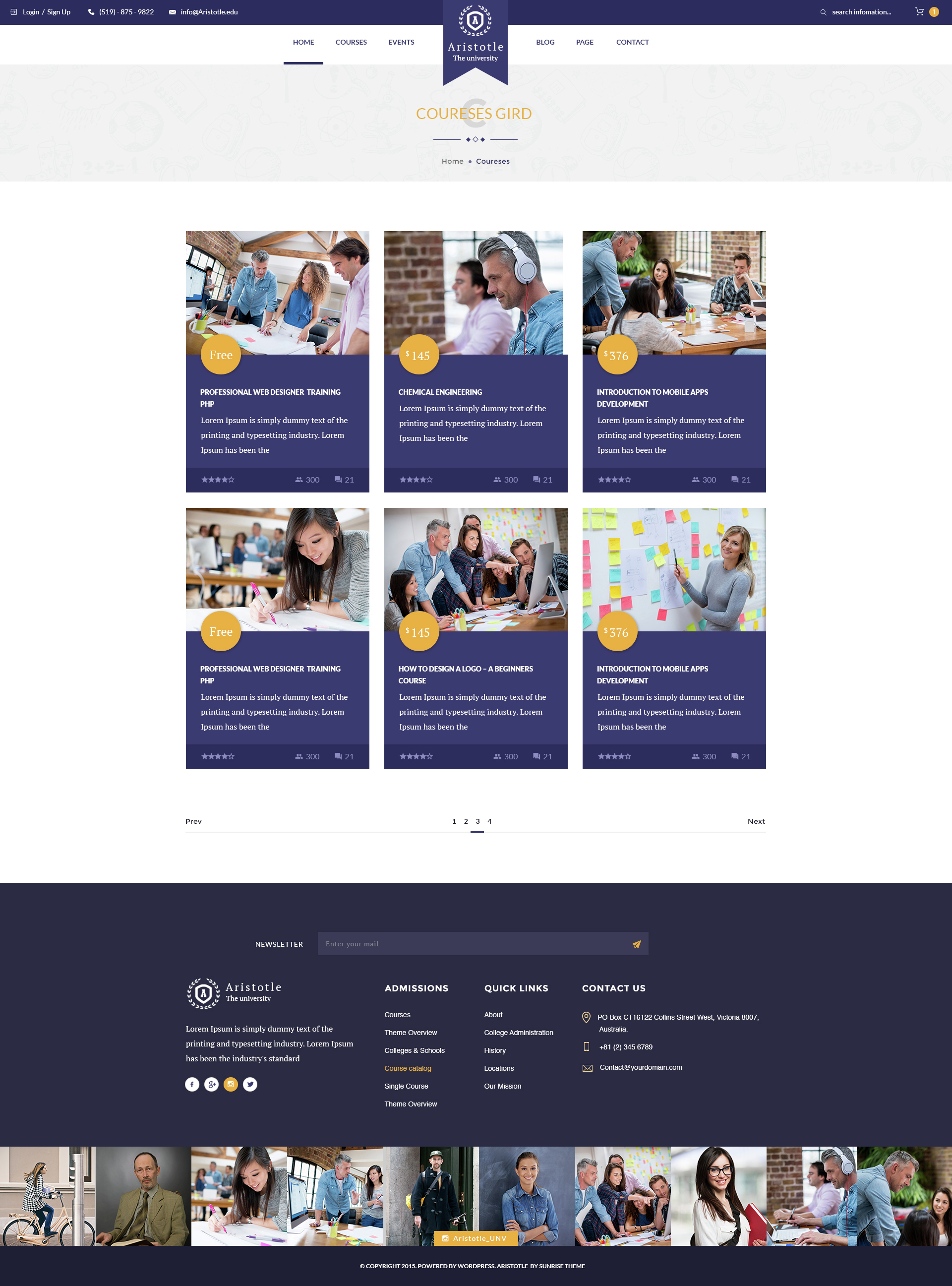 Nice Aristotle   Professional PSD Template For Education