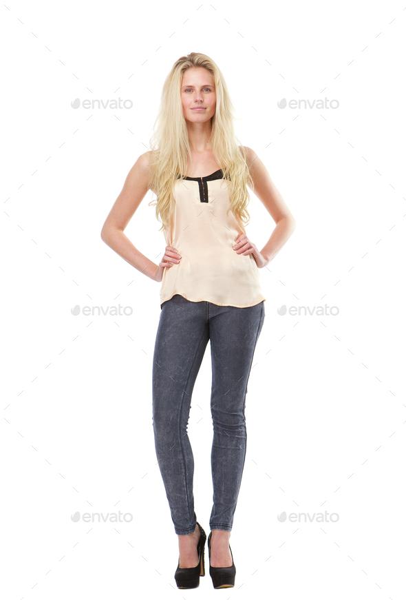 Portrait of a confident blond woman - Stock Photo - Images