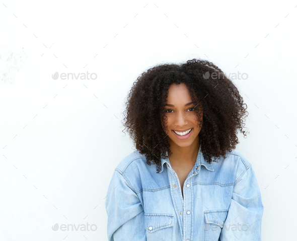 Happy young african american woman smiling - Stock Photo - Images