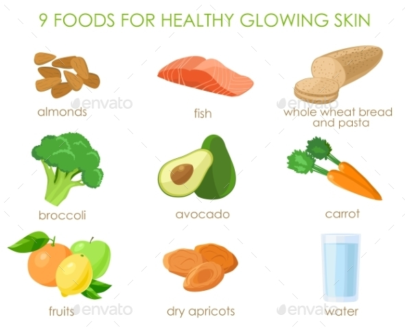Nine Foods for Healthy Skin - Food Objects