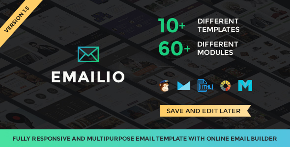 Emailio Responsive Multipurpose Email Template With Online Email Builder - Newsletters Email Templates