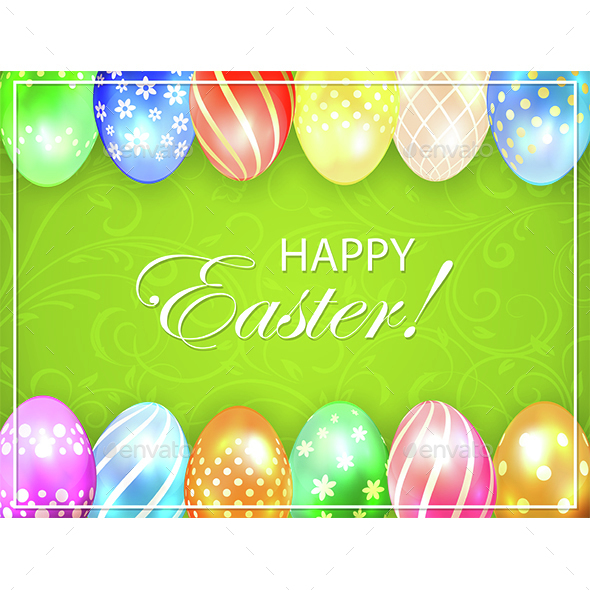Green Easter Background with Colored Eggs - Miscellaneous Seasons/Holidays