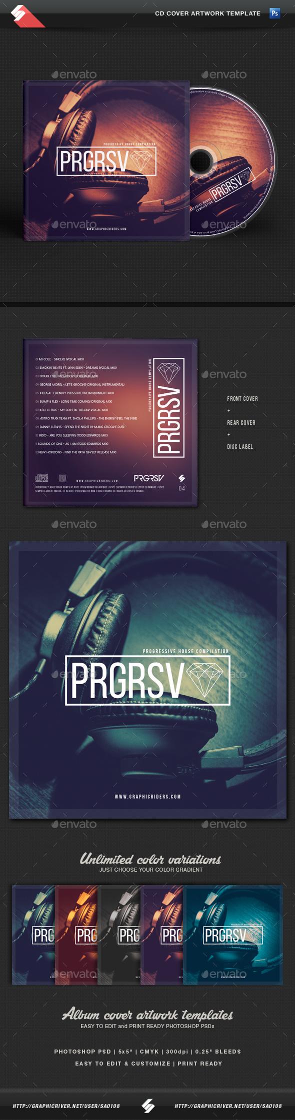 Progressive Sound - CD Cover Template - CD & DVD Artwork Print Templates