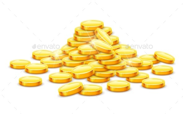 Gold Coins Cash Money in Hill - Miscellaneous Vectors