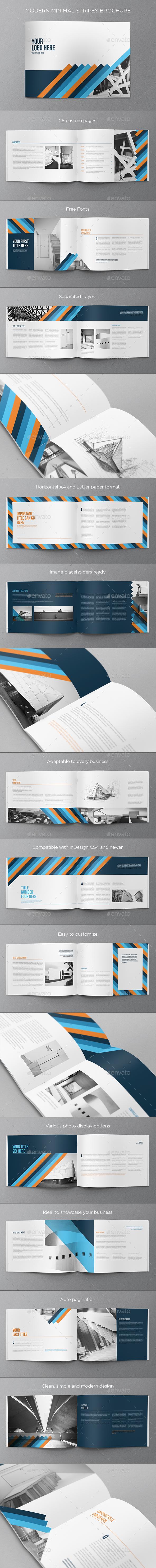Modern Minimal Stripes Brochure - Brochures Print Templates