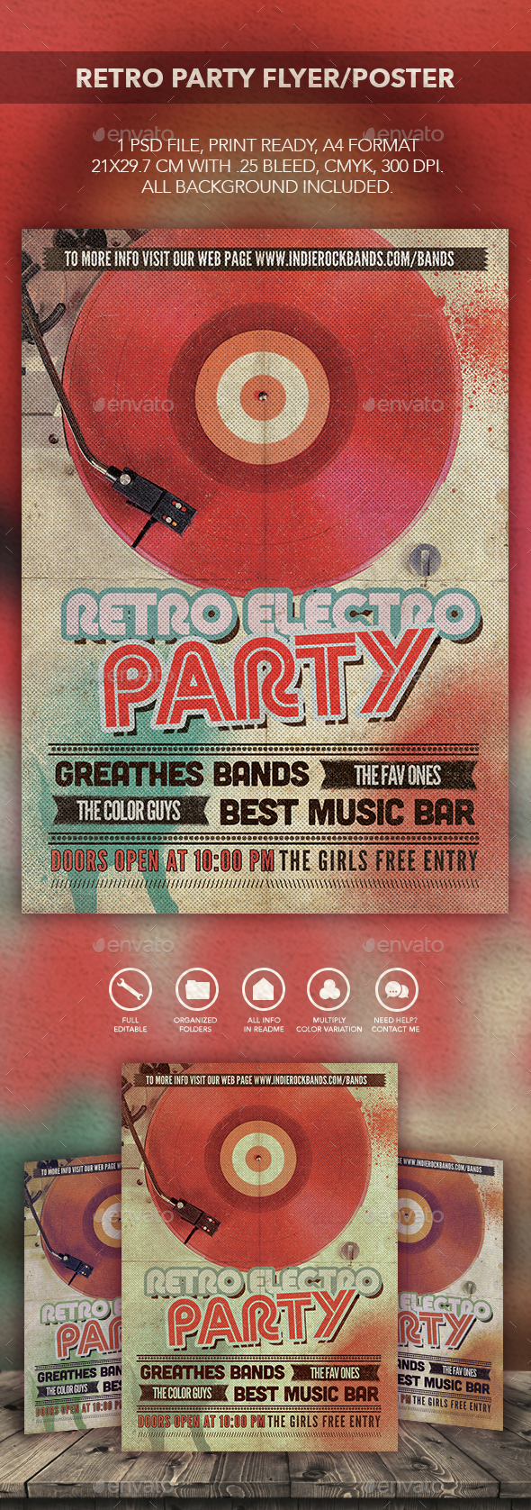 Retro Electro Party Flyer Poster