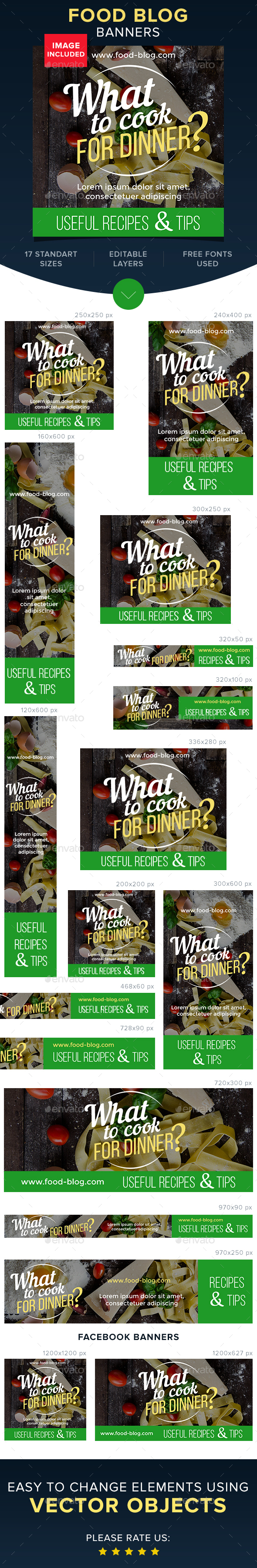 Food Blog Banners - Banners & Ads Web Elements