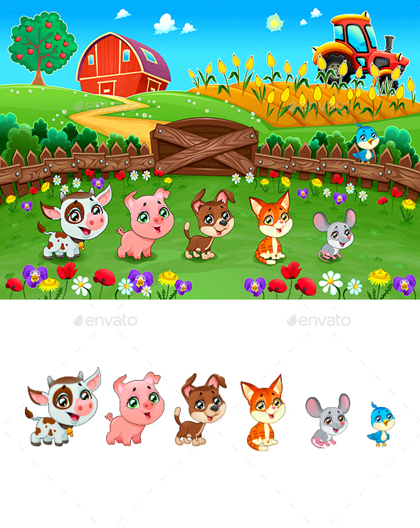 Landscape with Farm Animals - Animals Characters