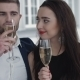 Couple Toasting With Champagne In The Restaurant - VideoHive Item for Sale