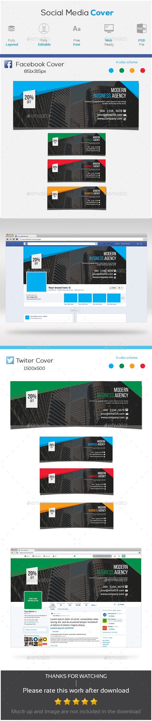 Corporate Facebook and Twitter Cover Photo - Social Media Web Elements