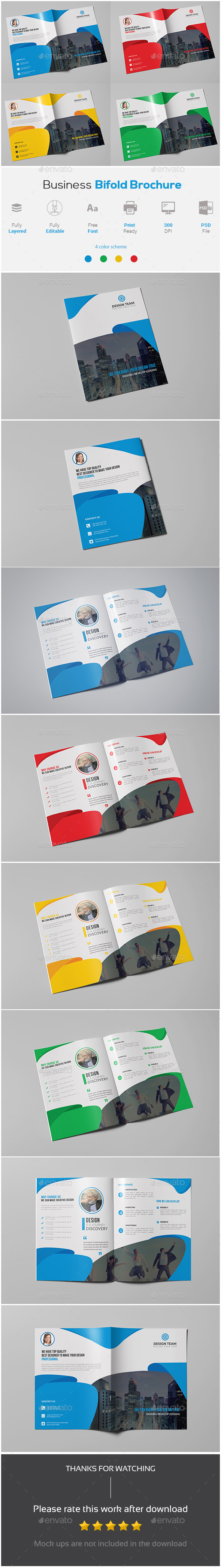 Business Bifold Brochure Template - Corporate Brochures