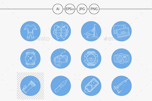 Underwater blue round vector icons - Seasonal Icons