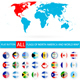 Flat Round Flags of North America Complete Set and World Map - GraphicRiver Item for Sale