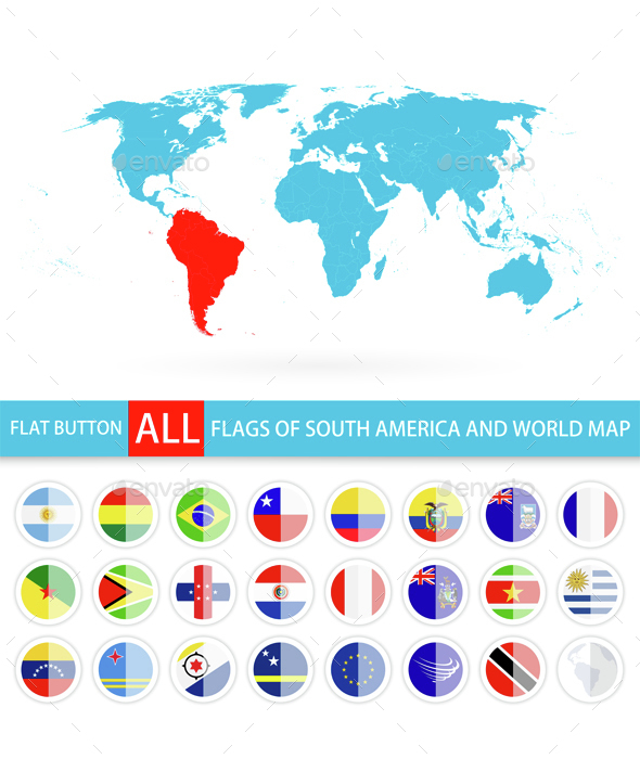 Flat Round Flags of South America Complete Set and World Map - Travel Conceptual