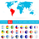 Flat Round Flags of South America Complete Set and World Map - GraphicRiver Item for Sale
