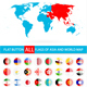 Round Flat Button Flags of Asia Complete Set and World Map - GraphicRiver Item for Sale
