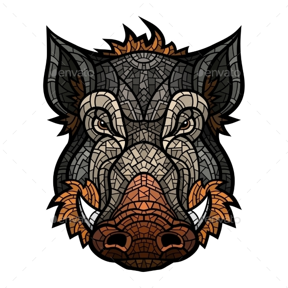 Head of Boar Mascot Color in Mosaic Style - Animals Characters