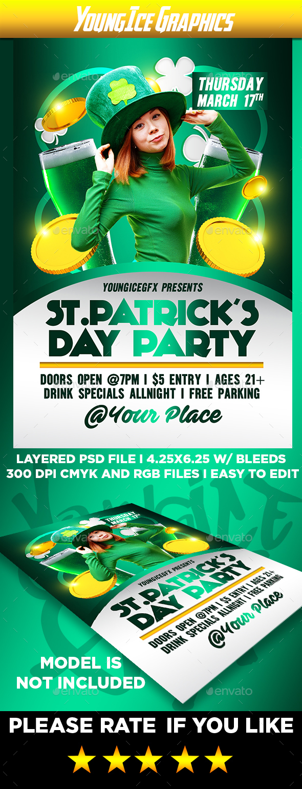 St Patricks Party Flyer Template - Clubs & Parties Events