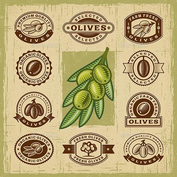 Vintage Olive Stamps Set - Decorative Symbols Decorative