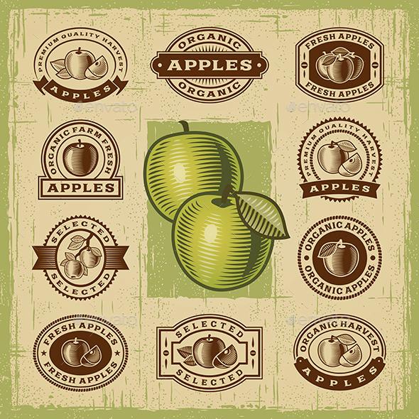 Vintage Apple Stamps Set - Decorative Symbols Decorative