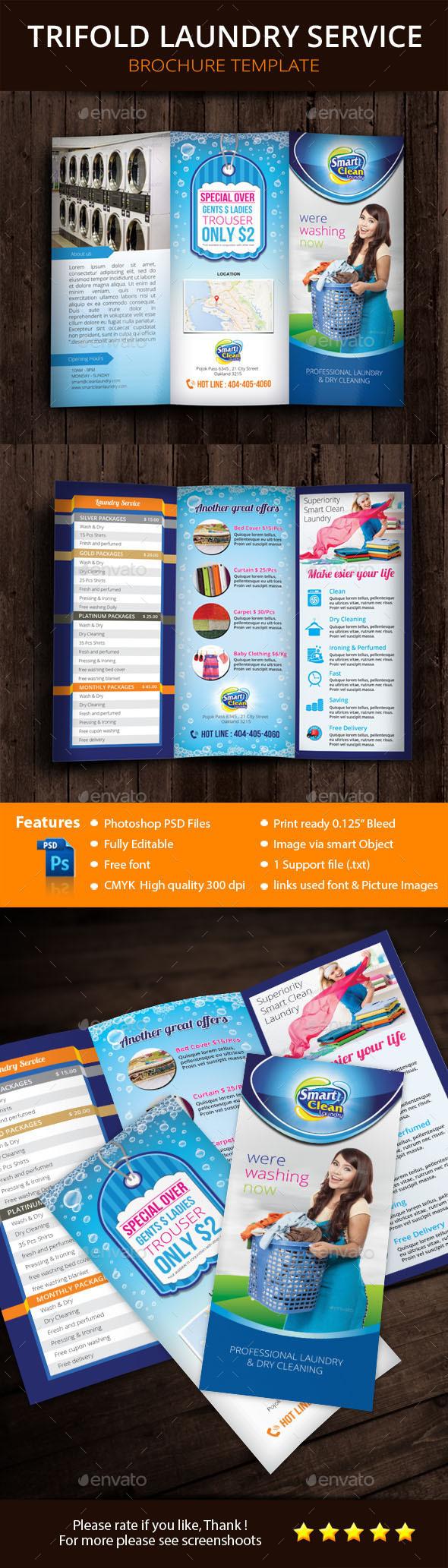 Tri Fold Laundry Service Brochure  - Brochures Print Templates