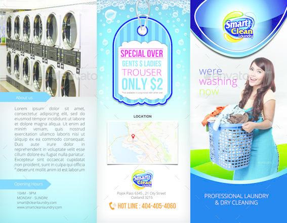 tri fold laundry service brochure by tholai
