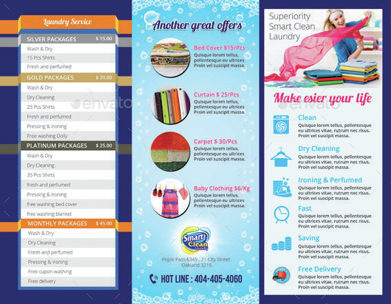 Tri fold laundry service brochure by tholai graphicriver for Laundry flyers templates