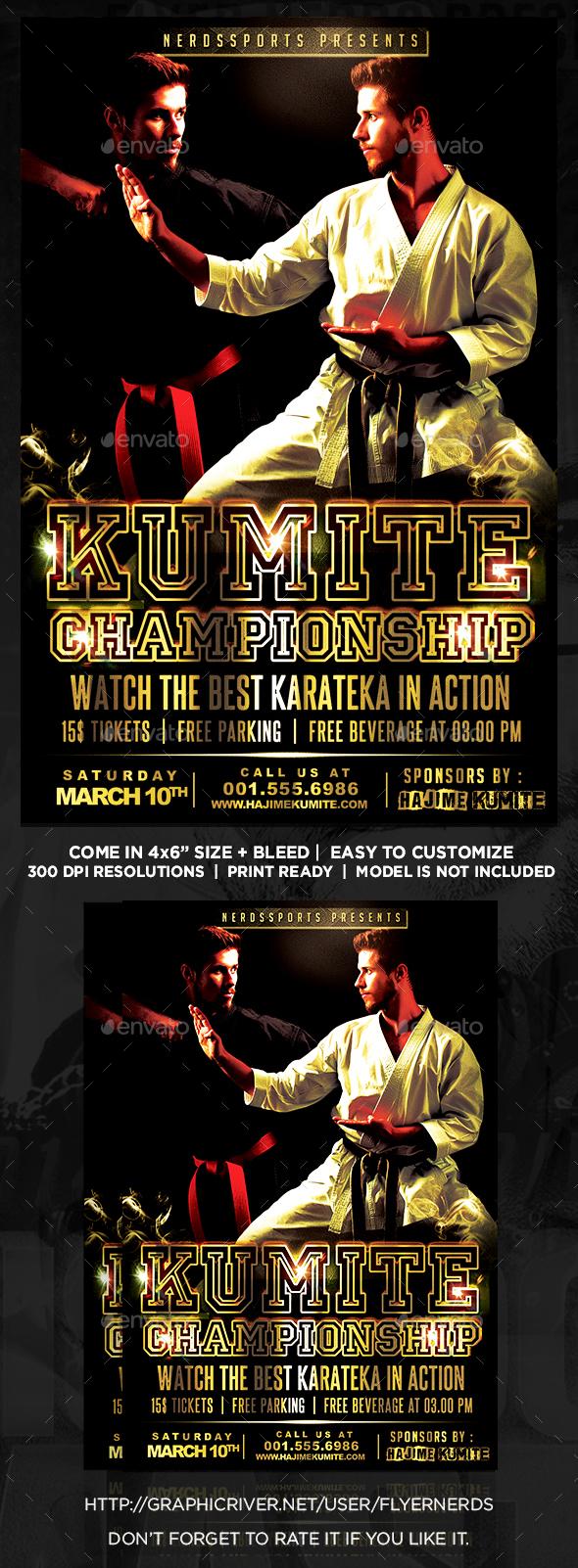 Kumite Karateka Championships Sports Flyer  - Sports Events
